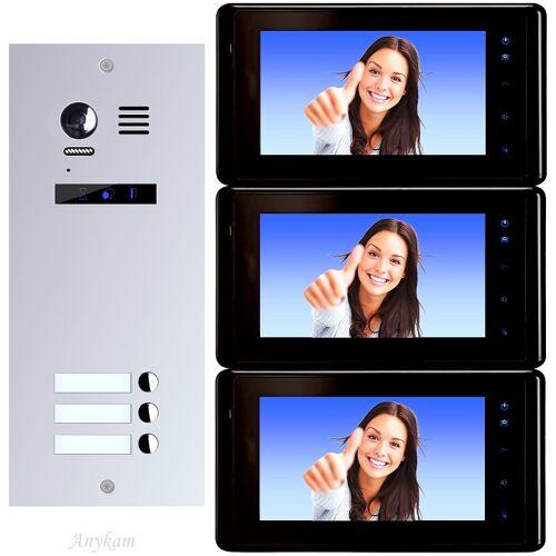 Anykam ES3+ DT27-B Video Türsprechanlage Videosprechanlage 3-Familienhaus 2Draht