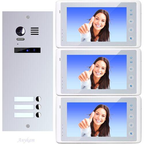 Anykam ES3+ DT27-W Video Türsprechanlage Videosprechanlage 3-Familienhaus 2Draht