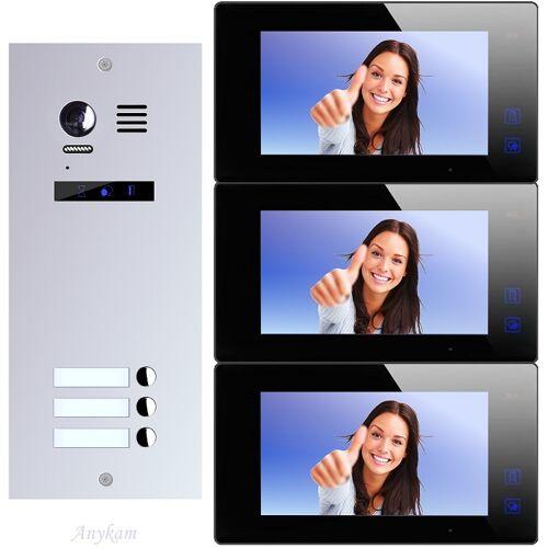 Anykam ES3+ DT47M-B Video Türsprechanlage Videosprechanlage 3-Familienhaus 2Draht