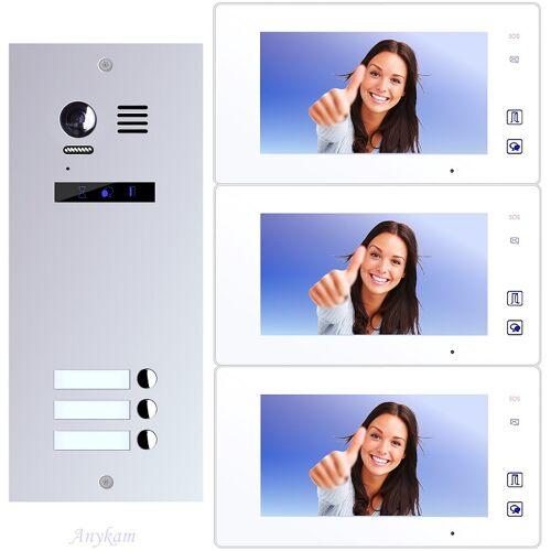 Anykam ES3+ DT47M-W Video Türsprechanlage Videosprechanlage 3-Familienhaus 2Draht