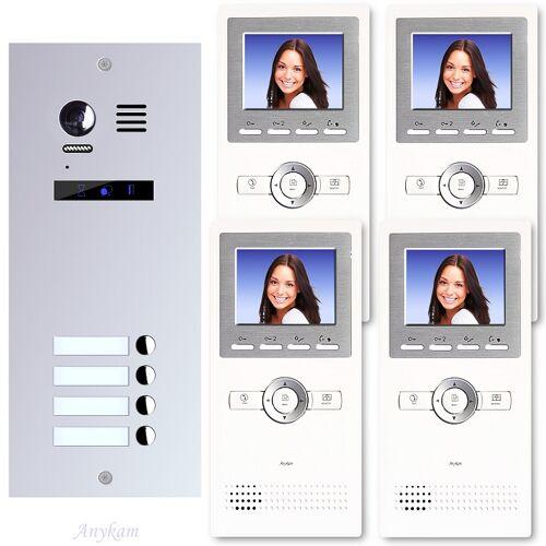 Anykam ES4+ DT16 Video Türsprechanlage Videosprechanlage 4-Familienhaus 2Draht