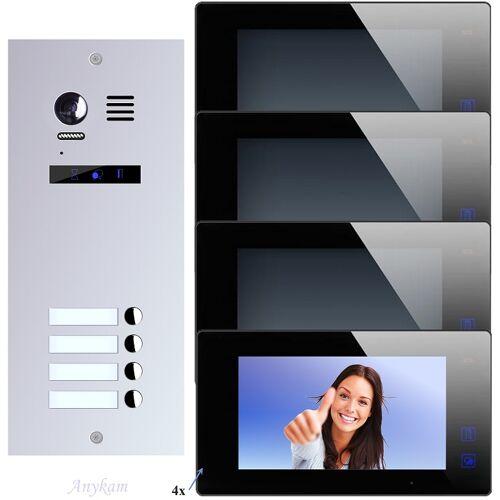 Anykam ES4+ DT47M-B Video Türsprechanlage Videosprechanlage 4-Familienhaus 2Draht