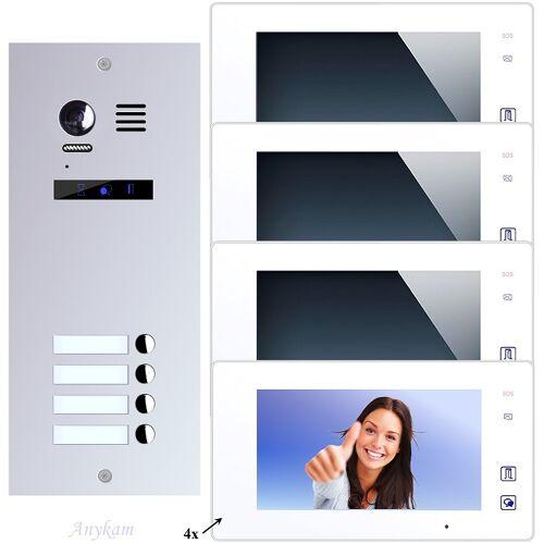 Anykam ES4+ DT47M-W Video Türsprechanlage Videosprechanlage 4-Familienhaus 2Draht