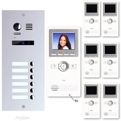 Anykam ES6+ DT16 Video Türsprechanlage Videosprechanlage 6-Familienhaus 2Draht