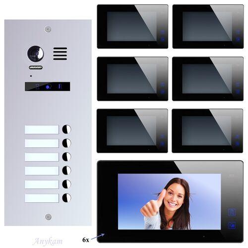 Anykam ES6+ DT47M-B Video Türsprechanlage Videosprechanlage 6-Familienhaus 2Draht