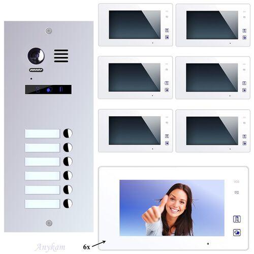 Anykam ES6+ DT47M-W Video Türsprechanlage Videosprechanlage 6-Familienhaus 2Draht