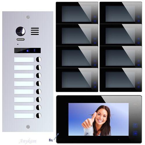 Anykam ES8+ DT47M-B Video Türsprechanlage Videosprechanlage 8-Familienhaus 2Draht