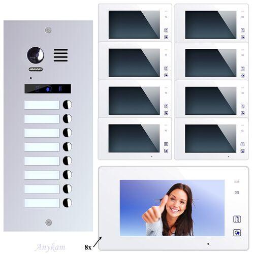 Anykam ES8+ DT47M-W Video Türsprechanlage Videosprechanlage 8-Familienhaus 2Draht