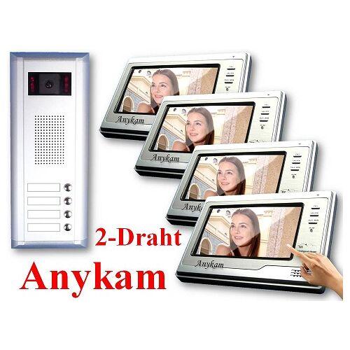 Anykam S4+692 Video Sprechanlage Gegensprechanlage mit Kamera 4-Familienhaus 2-Draht