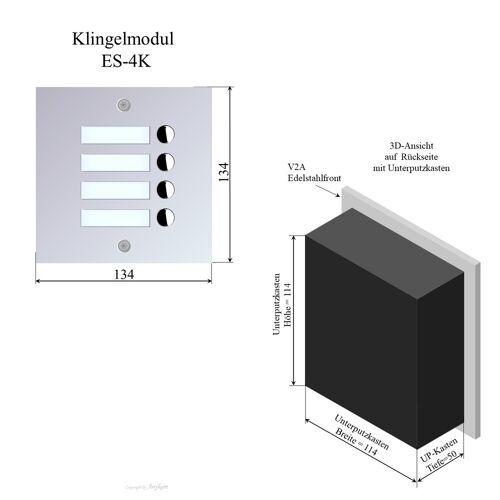 Anykam ES-4K Edelstahl Klingelmodul 2Draht Türsprechanlage für Briefkastenanlage