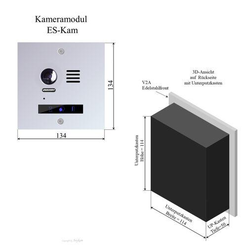 Anykam ES-Kam Edelstahl Kamera Hauptmodul Video Türsprechanlage für Briefkastenanlage