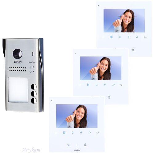 Anykam 607idfeS3 DT43 Video Türsprechanlage Klingelanlage mit Kamera 3-Wohnungen 2Draht