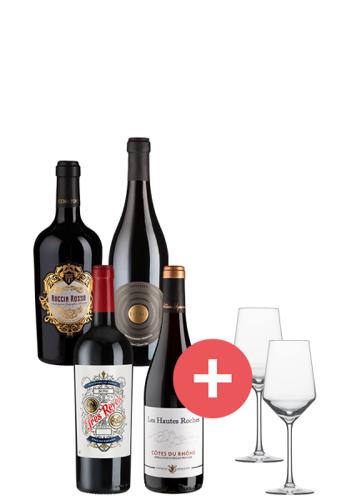 4er-Paket Topseller Rotweine + G...