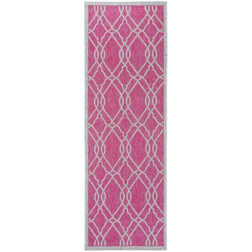 benuta PLUS In- & Outdoor-Läufer Cleo Pink 80x240 cm - für Balkon, Terrasse & Garten