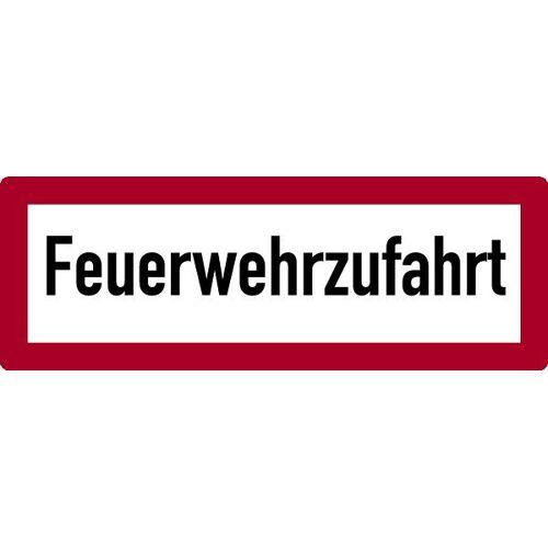 Schilder Klar Brandschutzzeichen Feuerwehrzufahrt, Aluminium geprägt