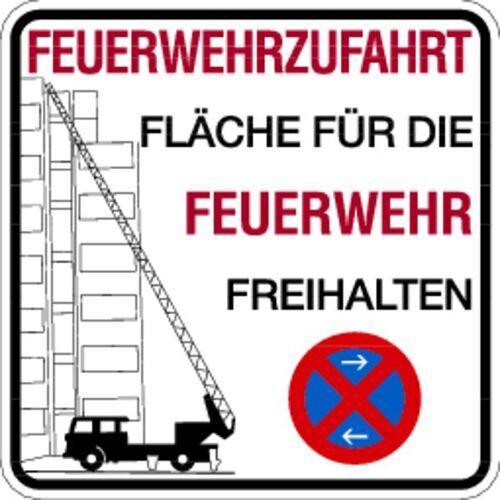Schilder Klar Brandschutzzeichen Feuerwehrzufahrt Fläche freihalten, 500x500x2 mm Aluminium 2 mm, 2956/25