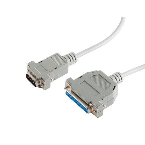 S-Conn Modem-Kabel, 9-pol Sub D-Stecker auf 25-pol Sub D-Kupplung, Modem-diagram, 9-adrig, mit Schnapphauben
