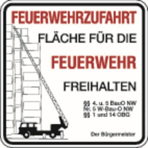Schilder Klar Brandschutzzeichen Feuerwehrzufahrt, Der Bürgermeister, 500x500x2 mm Aluminium 2 mm, 2956/22.02