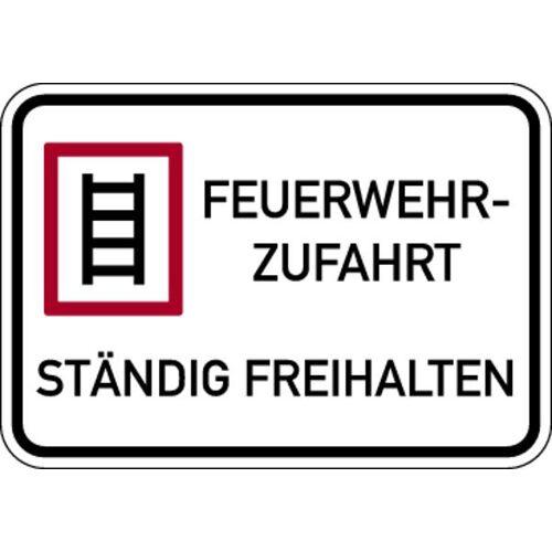 Schilder Klar Brandschutzzeichen Feuerwehrzufahrt Ständig freihalten, 500x350x2 mm Aluminium 2 mm, 626/23