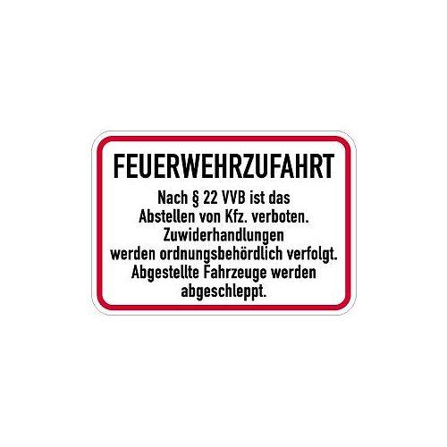 Moedel Feuerwehrzufahrt Nach § 22 VVB ist ..., Alu, 500x300 mm, 57543