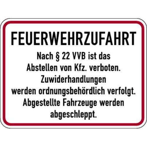 Schilder Klar Brandschutzzeichen Feuerwehrzufahrt nach § 22 VVB, 400x300x0.6 mm Aluminium geprägt, 159/56