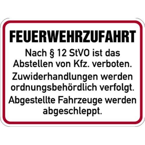 Schilder Klar Hinweisschild Feuerwehrzufahrt nach § 12 StVO, 400x300x0.6 mm Aluminium geprägt, 135/53