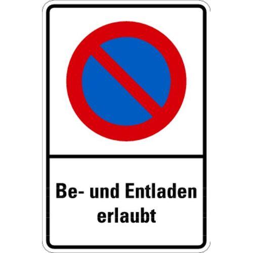 Schilder Klar Parkplatzkennzeichnung Parkverbotsschild Be- und Entladen erlaubt, 400x600x0.6 mm Aluminium geprägt, 1180/54