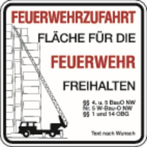 Schilder Klar Brandschutzzeichen Feuerwehrzufahrt, Text nach Wunsch, 500x500x2 mm Aluminium 2 mm, 2956/22.05