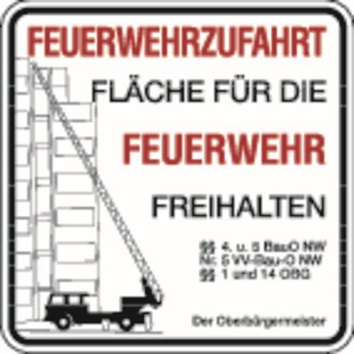Schilder Klar Brandschutzzeichen Feuerwehrzufahrt, Der Oberbürgermeister, 500x500x2 mm Aluminium 2 mm, 2956/22.01