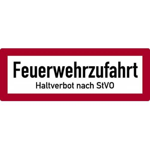 Schilder Klar Brandschutzzeichen Feuerwehrzufahrt Haltverbot, 594x210x2 mm Aluminium 2 mm, 150/53