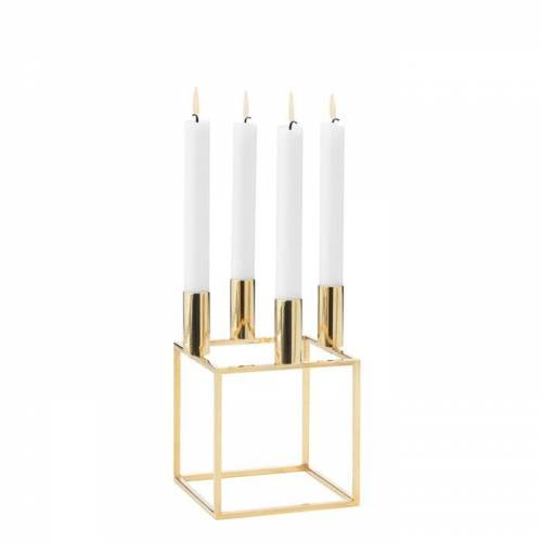 Kubus 4 Kerzenständer Messing  by Lassen