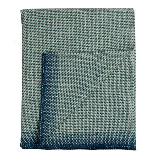 Una Wolldecke Blau Røros Tweed
