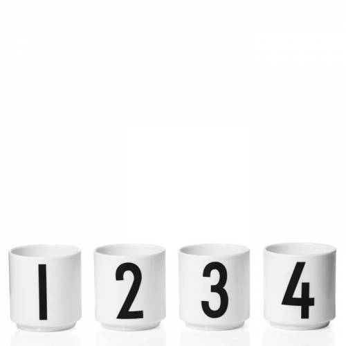 AJ Espressotassen 4er Set Weiß  Design Letters