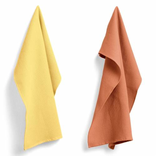 Waffle Tea Towel 2er Set Terracotta/Gelb Hay