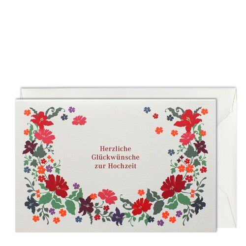 Blütenkranz Hochzeitskarte B6  Haferkorn & Sauerbrey