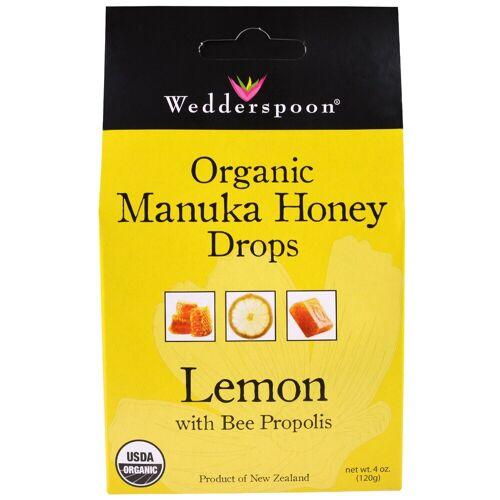 Wedderspoon Organic Organic Manuka Honey Drops Lemon With Bee Propolis (120 gram) - Wedderspoon Organic