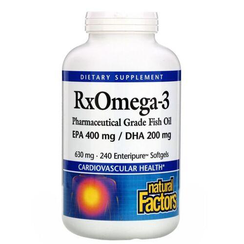 Natural Factors Rx Omega-3 Factors- EPA 400 mg/DHA 200 mg (240 softgels) - Natural Factors