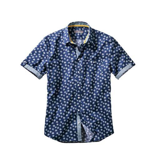 Mey & Edlich Herren Blaudruck-Hemd Krempelärmel blau 38, 39, 40, 41, 42, 43, 44