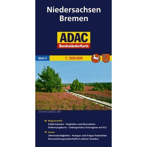 - ADAC Bundesländerkarte Niedersachsen, Bremen 1:300.000 (ADAC BundesländerKarten Deutschland) - Preis vom 02.08.2021 04:48:42 h