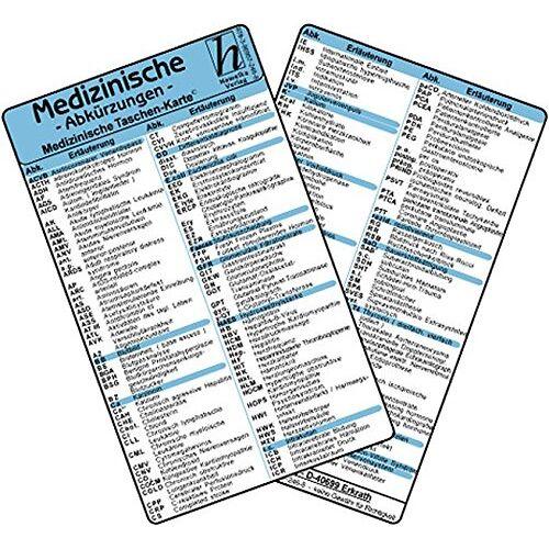 - Medizinische Abkürzungen - Medizinische Taschen-Karte - Preis vom 02.08.2021 04:48:42 h