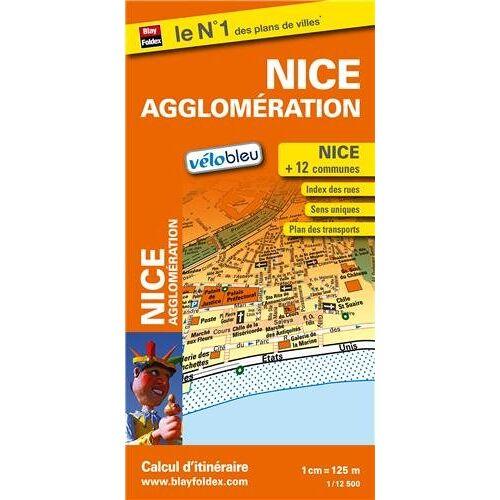 Blay-Foldex - Plan de Nice et de son agglomération - Echelle : 1/12 500 - Localisation des stations Vélobleu - Preis vom 12.06.2021 04:48:00 h