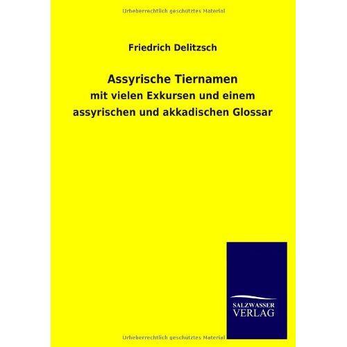 Friedrich Delitzsch - Assyrische Tiernamen: mit vielen Exkursen und einem assyrischen und akkadischen Glossar - Preis vom 11.06.2021 04:46:58 h