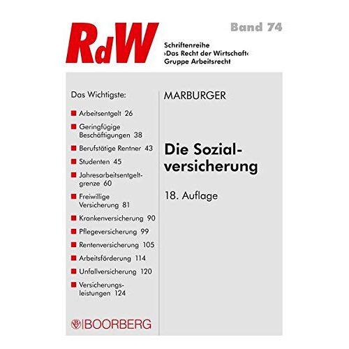 Horst Marburger - Marburger Die Sozialversicherung (Schriftenreihe RdW) - Preis vom 17.06.2021 04:48:08 h