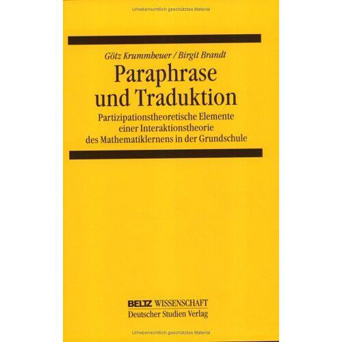Götz Krummheuer - Paraphrase und Traduktion - Preis vom 22.01.2021 05:57:24 h