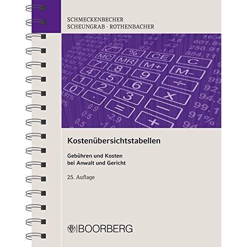Manfred Schmeckenbecher - Kostenübersichtstabellen: Gebühren und Kosten bei Anwalt und Gericht - Preis vom 01.03.2021 06:00:22 h
