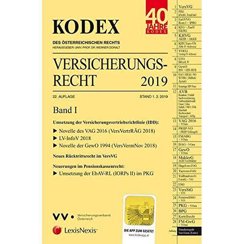 Werner Doralt - KODEX Versicherungsrecht Band I 2019 - Preis vom 04.09.2020 04:54:27 h