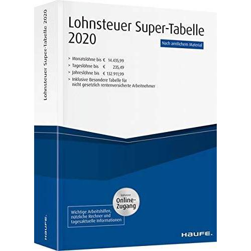 - Lohnsteuer-Supertabelle 2020 plus Onlinezugang (Haufe Steuertabellen) - Preis vom 20.01.2021 06:06:08 h