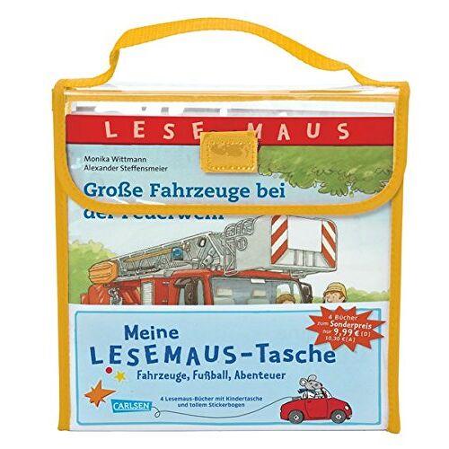Ralf Butschkow - LESEMAUS: Meine Lesemaus-Tasche - Fahrzeuge, Fußball, Abenteuer: Kindertasche mit 4 Lesemaus-Büchern und Stickerbogen - Preis vom 12.05.2021 04:50:50 h