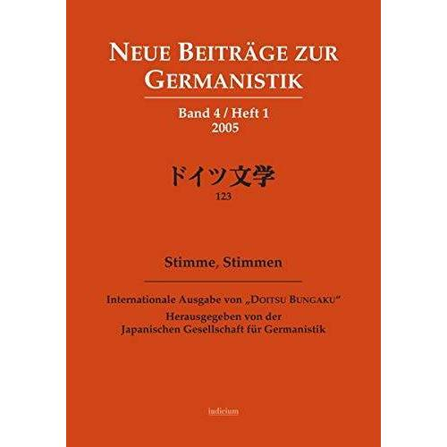 Japanische Gesellschaft f. Germanistik - Stimme, Stimmen (Neue Beiträge zur Germanistik) - Preis vom 25.02.2021 06:08:03 h