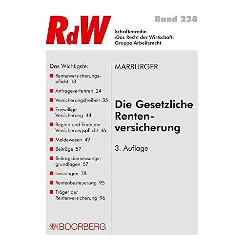 Horst Marburger - Die gesetzliche Rentenversicherung (RdW) - Preis vom 21.10.2020 04:49:09 h